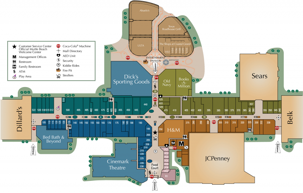 Mall Directory   Coastal Grand Mall - Allen Texas Outlet Mall Map