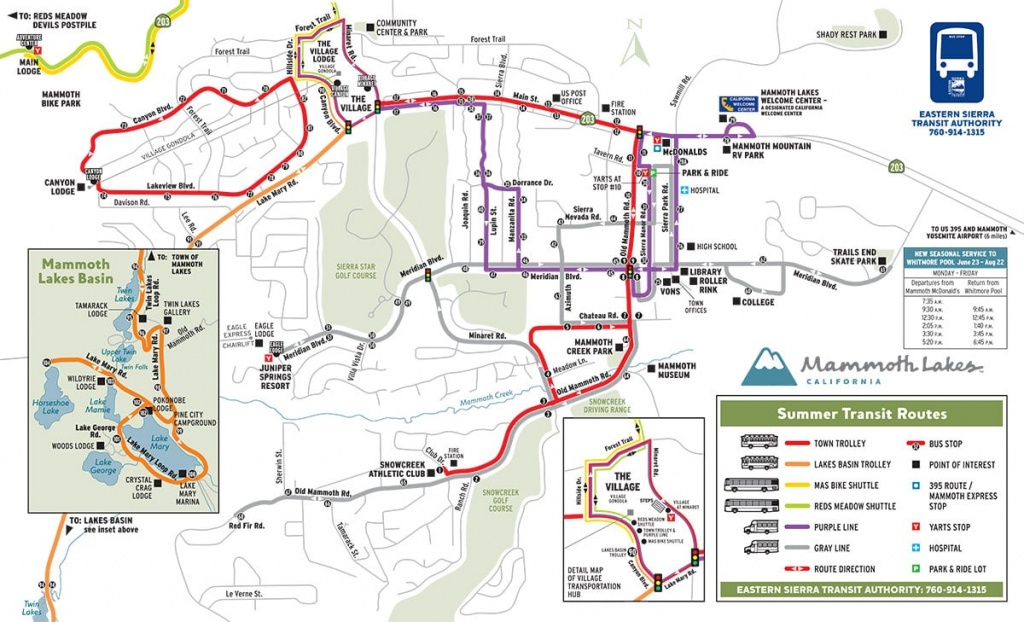 Mammoth Shuttle Map - Mammoth California Map