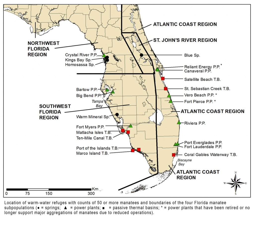 Manatees And Warm-Water Refuges - Marine Mammal Commission - Manatee Florida Map