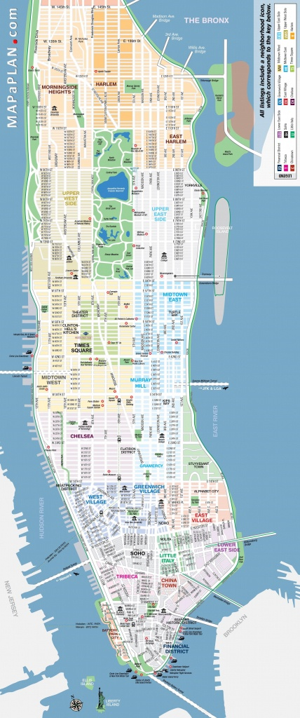 Manhattan-Streets-And-Avenues-Must-See-Places-New-York-Top-Tourist - Printable Map Of Lower Manhattan Streets
