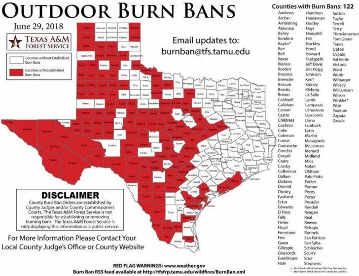 Burn Ban Map Of Texas
