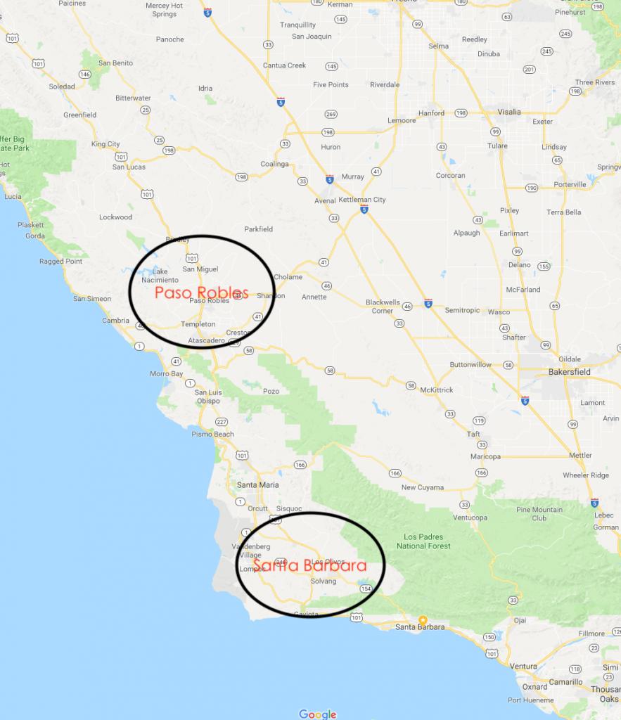 Map Central Coast Paso & Santa Barbara Regions - Crushed Grape - Map Of California Showing Santa Barbara