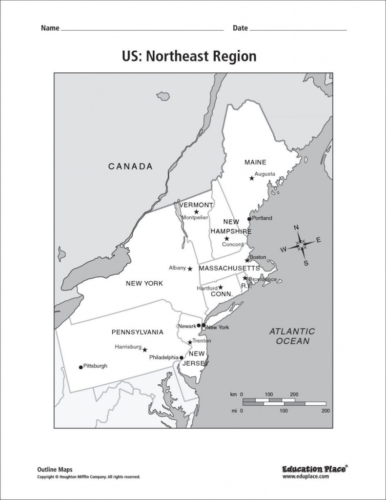 Map Eastern Printable North East States Usa Refrence Coast The New - Printable Map Of Northeast States