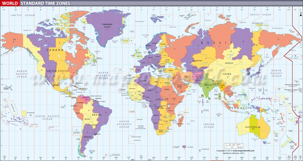 Map In Large Print Of The World Inpinks   Free Printable World Time - Maps With Time Zones Printable