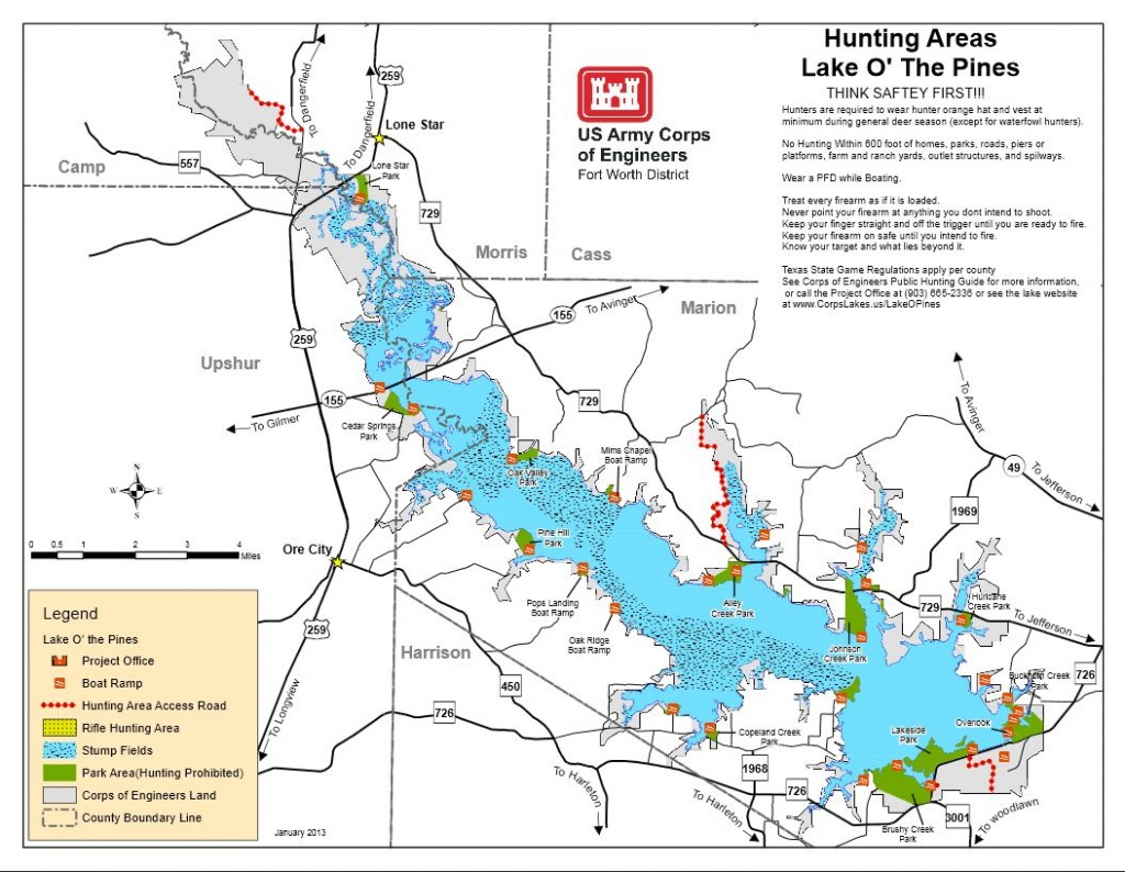 Map | Lake O' The Pines - Texas Lake Maps Fishing