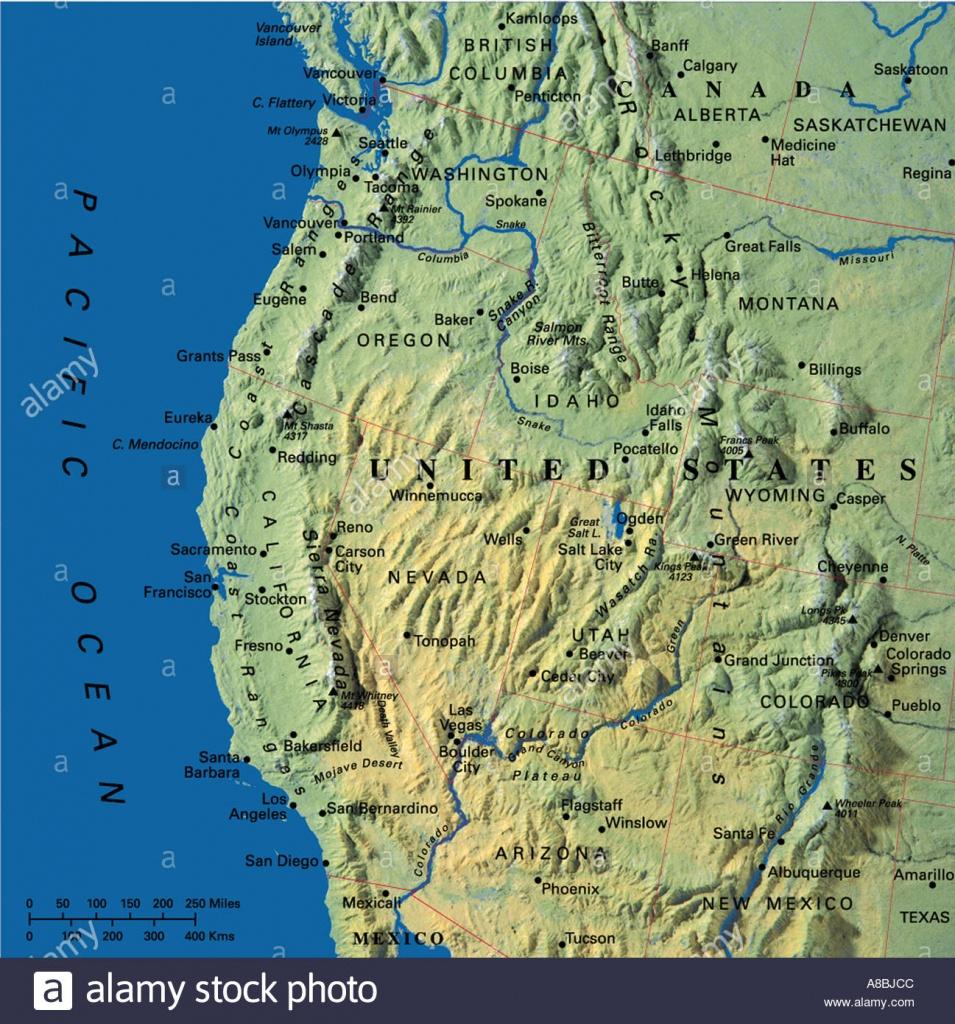 Map Maps Usa California Oregon Washington State Stock Photo: 3933899 - California Oregon Washington Map