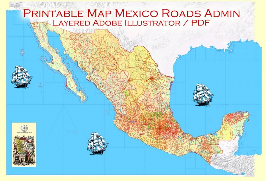 Map Mexico Adobe Illustrator Printable Topo Roads Admin Ports Airports - Printable Map Of Mexico