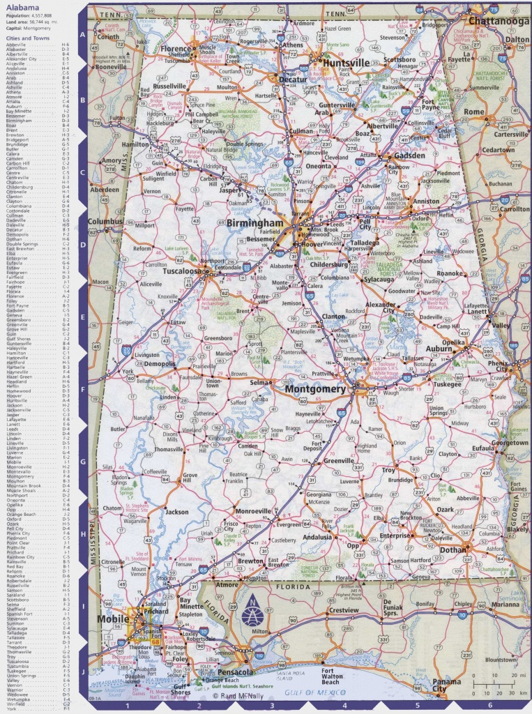 Map Of Alabama With Cities And Towns - Printable Alabama Road Map
