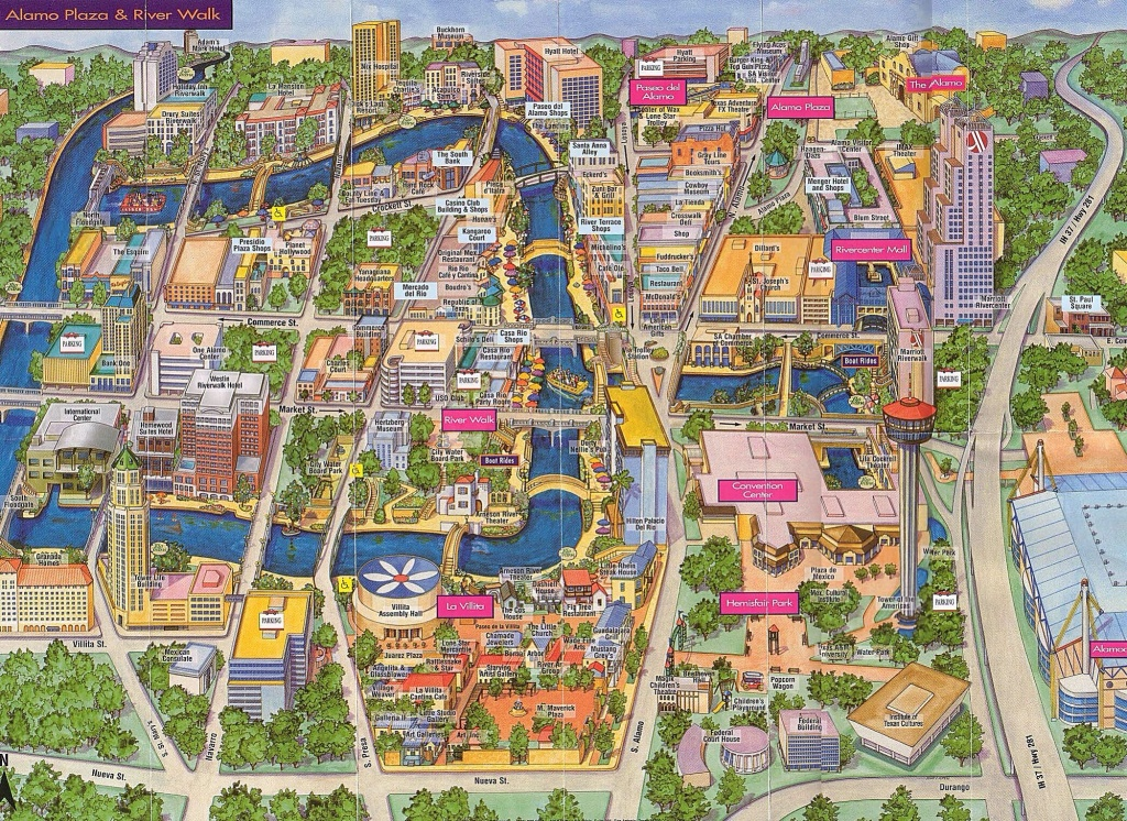 Map Of Alamo Plaza & River Walk | San Antonio, Tx | Www.mappery - Map Of San Antonio Texas Area