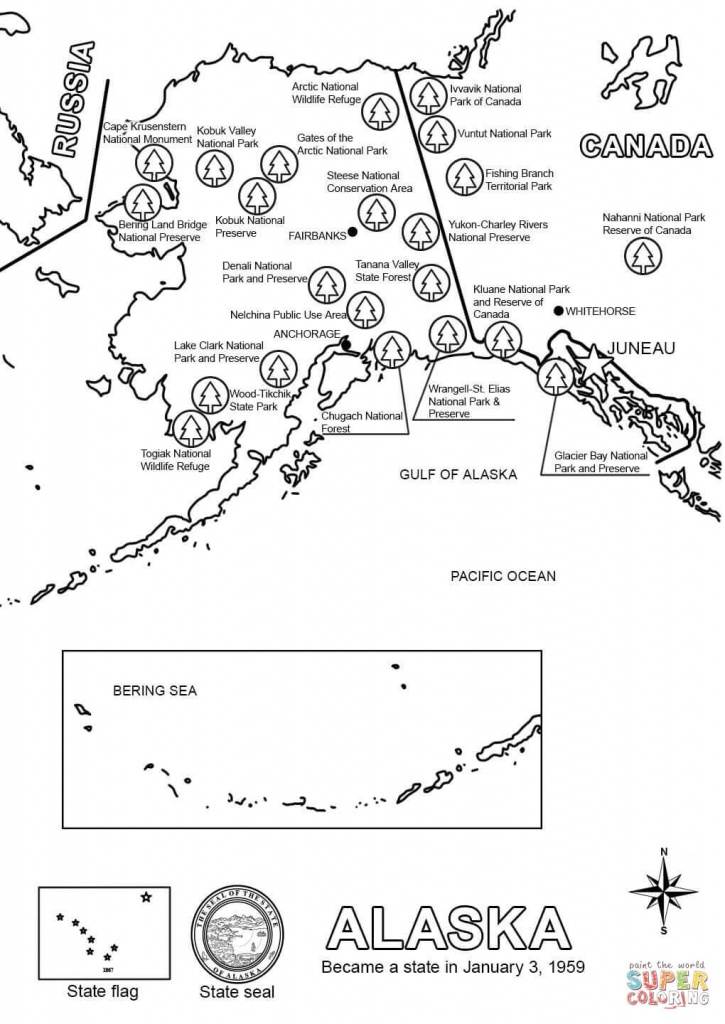Map Of Alaska Coloring Page   Free Printable Coloring Pages - Free Printable Map Of Alaska