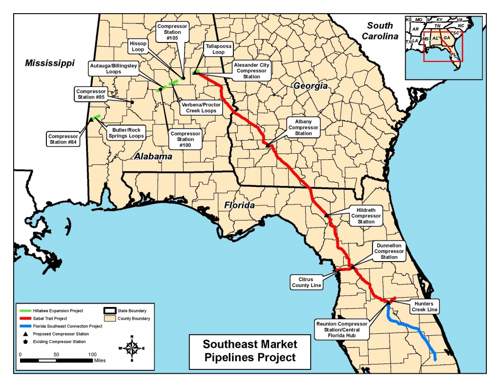 Map Of All Three Pipelines, In Notice Of Intent,ferc, For - Florida Gas Pipeline Map