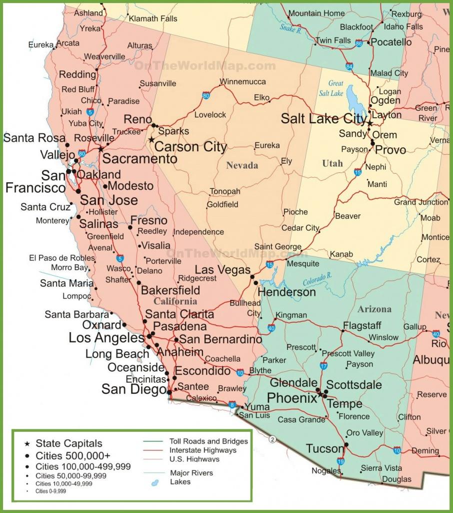 Map Of Arizona, California, Nevada And Utah - Road Map Of California Nevada And Arizona