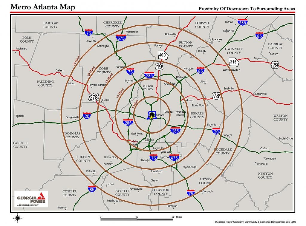 Map Of Atlanta Metro Area | Sitedesignco - Atlanta Zip Code Map Printable