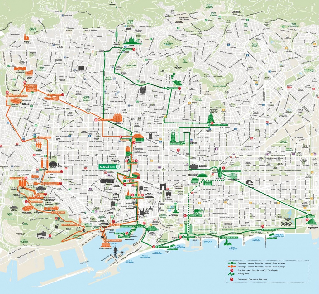 Map Of Barcelona Tourist Attractions, Sightseeing & Tourist Tour - Barcelona Tourist Map Printable