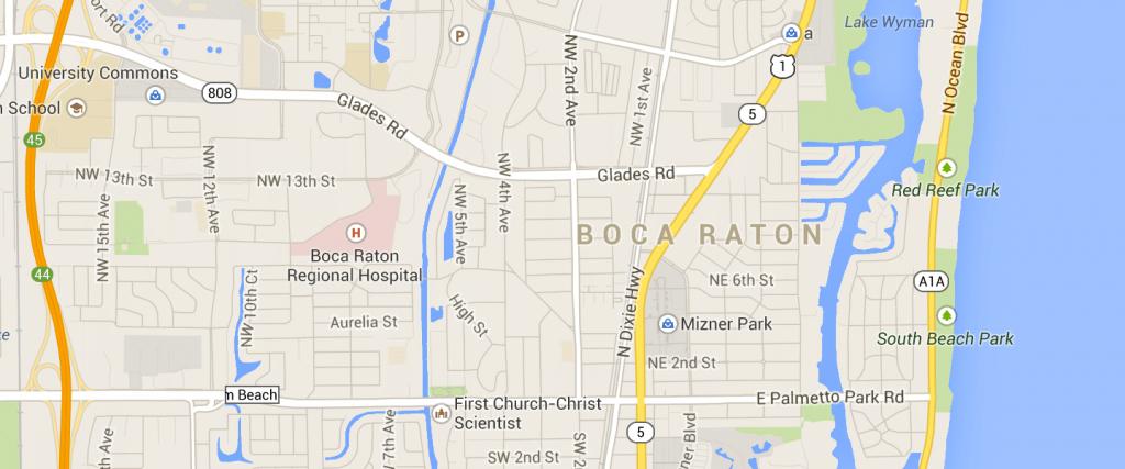 Map Of Boca Raton Fl   Compressportnederland - Boca Delray Florida Map