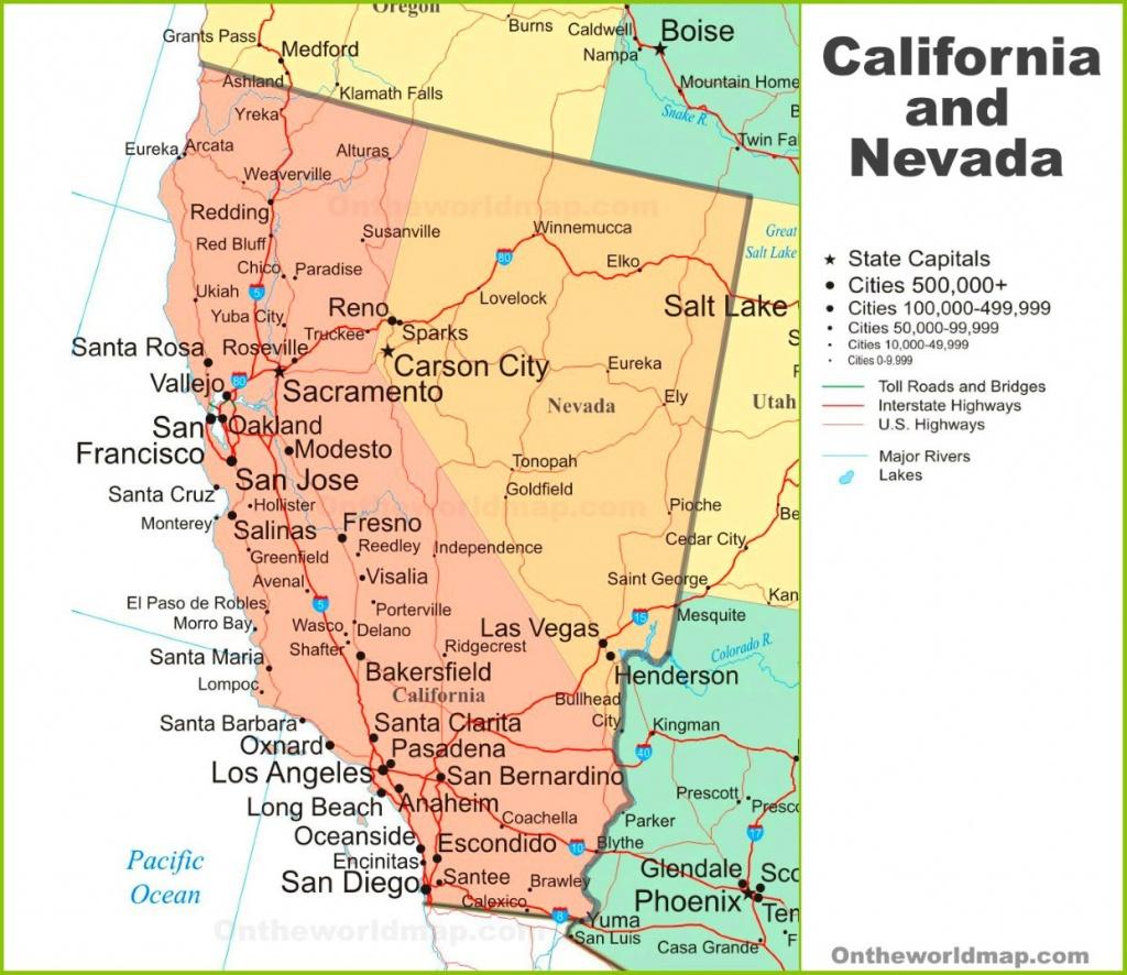 Map Of California And Nevada - California Nevada Map