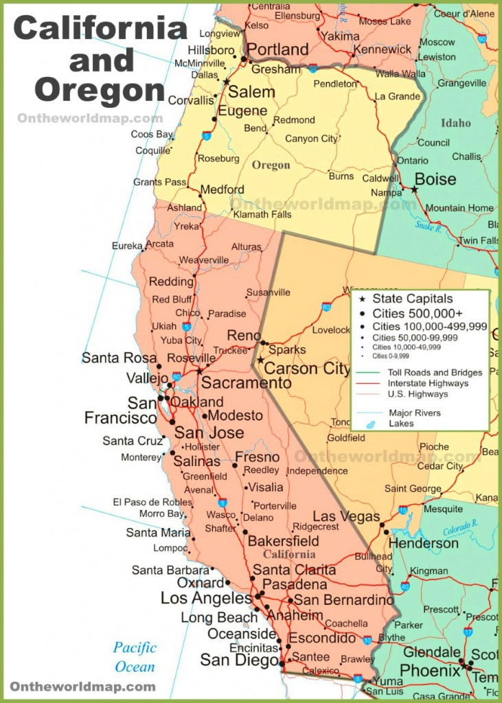 Map Of California And Oregon - Map Of Northern California And Oregon