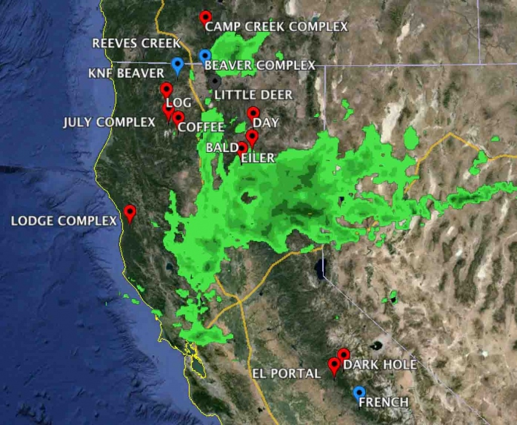 Map Of California. Map Of Current Fires In Northern California - Northern California Weather Map