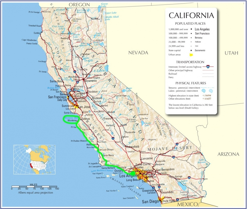 Map Of California Pacific Coast Highway 1 – Map Of Usa District - Highway 1 California Map