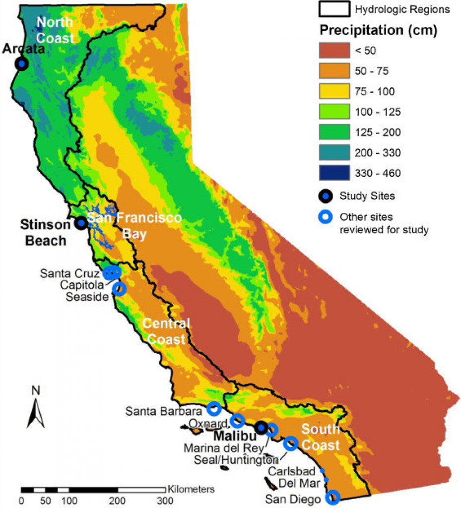 Map Of California Showing The 4 Coastal Hydrologic Regions (Hrs - Map Of California Coastline