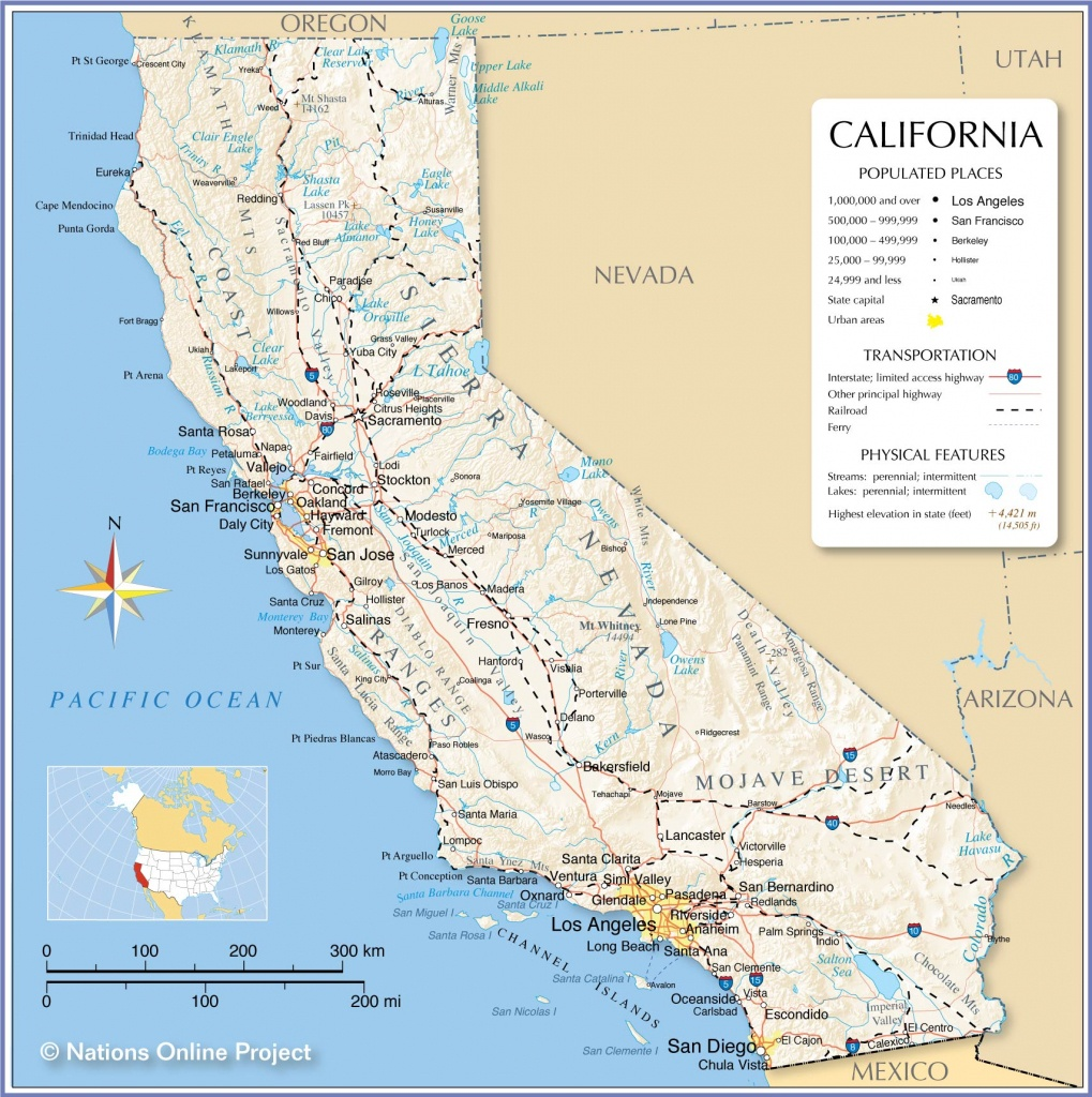 Map Of California State, Usa - Nations Online Project - California Pictures Map