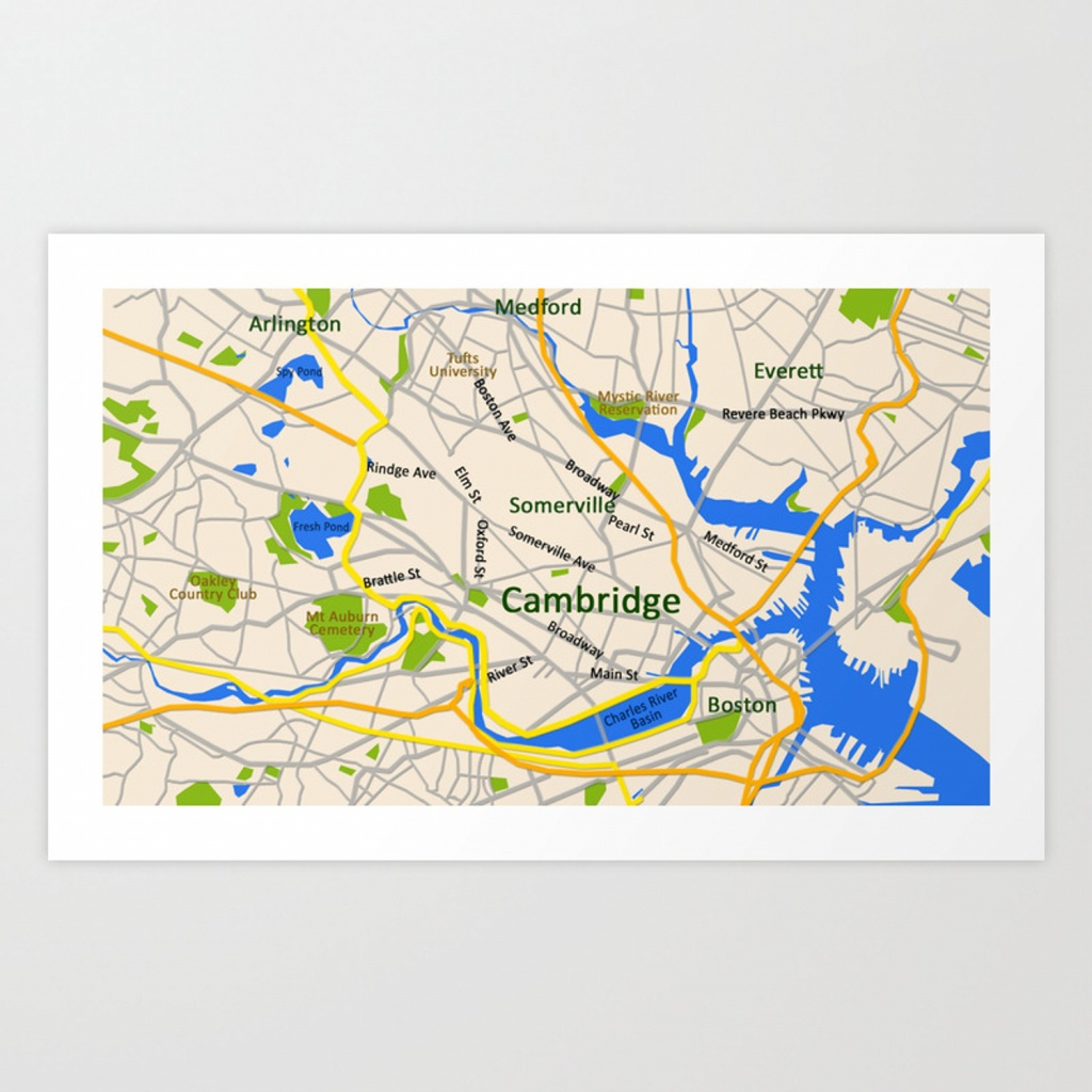 Map Of Cambridge, Ma, Usa Art Printefratul | Society6 - Printable Map Of Cambridge Ma