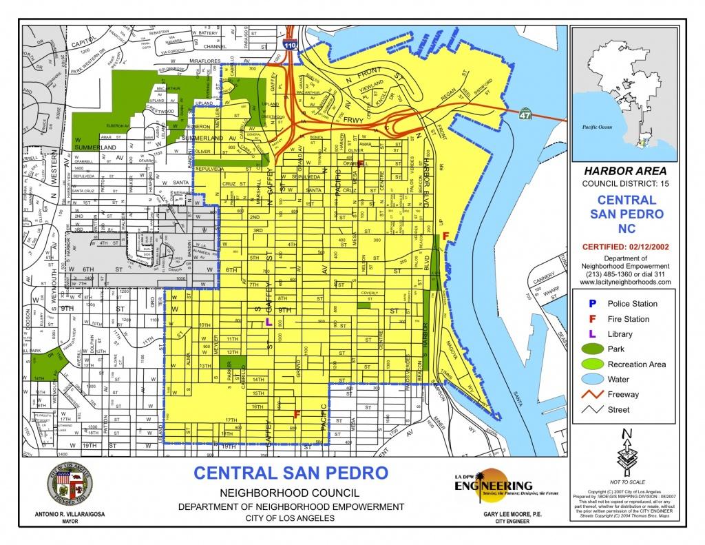 Map Of Central Boundaries   Central San Pedro Neighborhood Council - San Pedro California Map