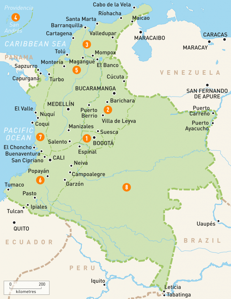 Map Of Colombia | Colombia Regions | Rough Guides | Rough Guides - Printable Map Of Colombia