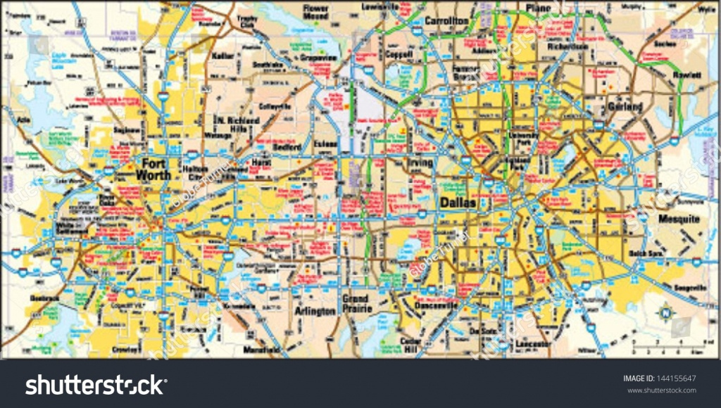 Map Of Dallas Area Stock Vector And Fort Worth Texas 144155647 - Map Of Fort Worth Texas Area