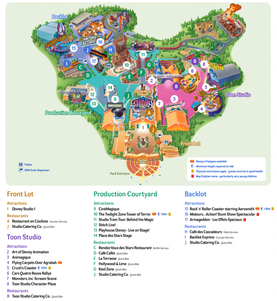 Map Of Disneyland Paris And Walt Disney Studios - Disneyland Paris Map Printable