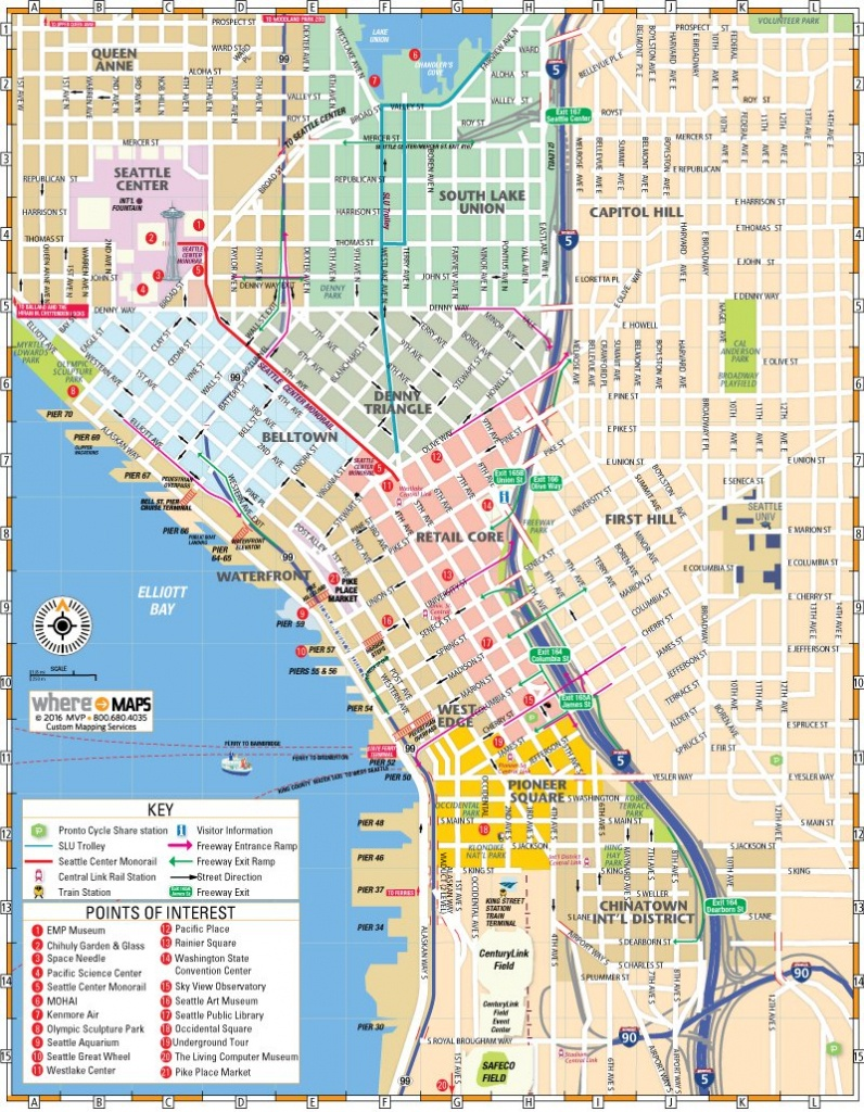 Map Of Downtown Seattle: Interactive And Printable Maps | Wheretraveler - Printable Map Of Seattle Area
