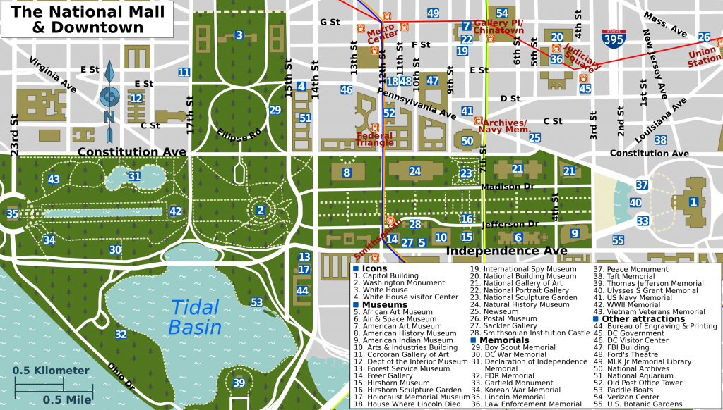Map Of Downtown Washington Dc Printable And Travel Information - Printable Map Of Downtown Dc