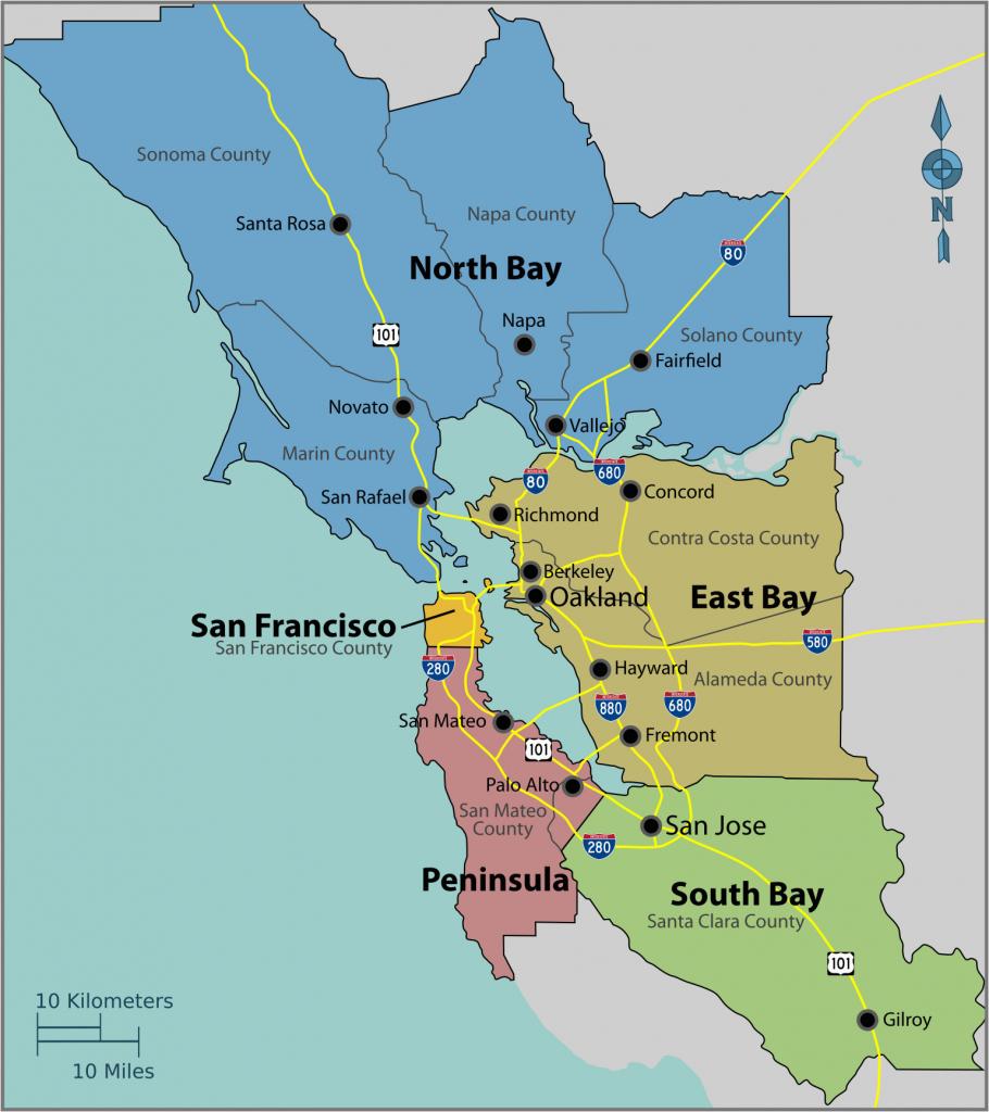 Map Of East Bay Area California   Secretmuseum - Map Of San Francisco Area California