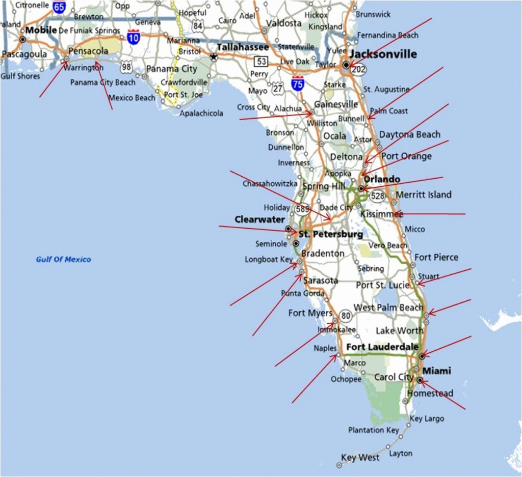 Map Of East Coast Florida Cities | Twitterleesclub - Florida East Coast Beaches Map