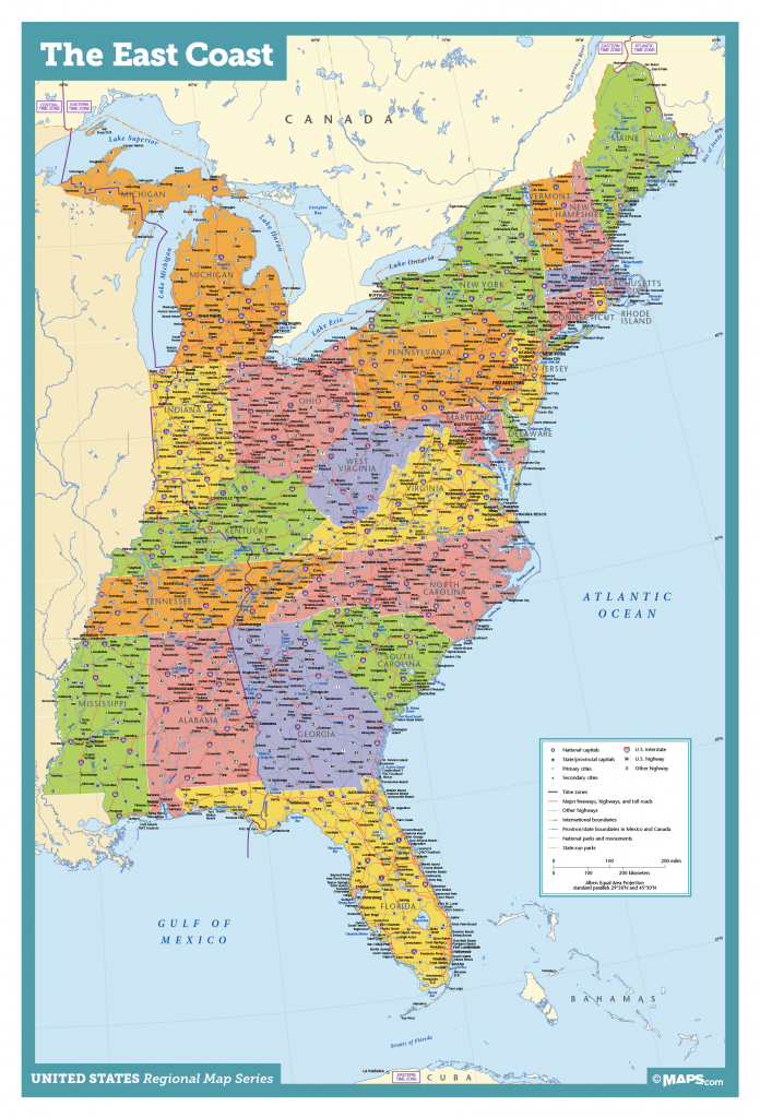 Map Of East Coast Usa States With Cities Map United States Printable - Printable Map Of Usa States And Cities