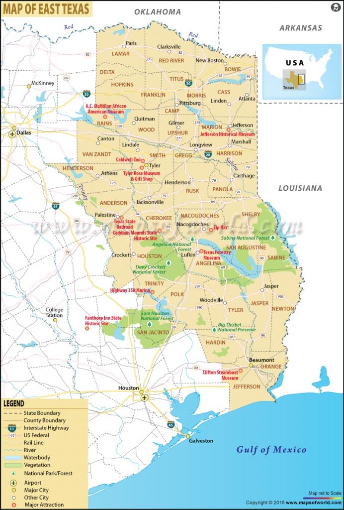 Map Of East Texas, East Texas Map - East Texas Lakes Map