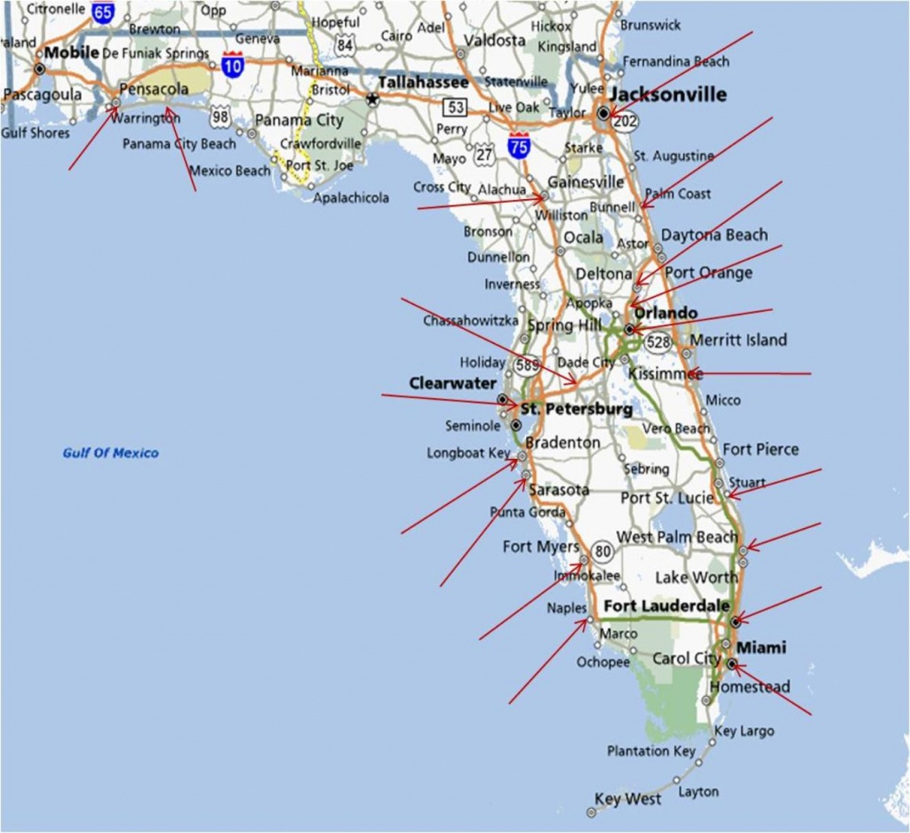 Map Of Eastern Fl And Travel Information | Download Free Map Of - Map Of Eastern Florida Beaches
