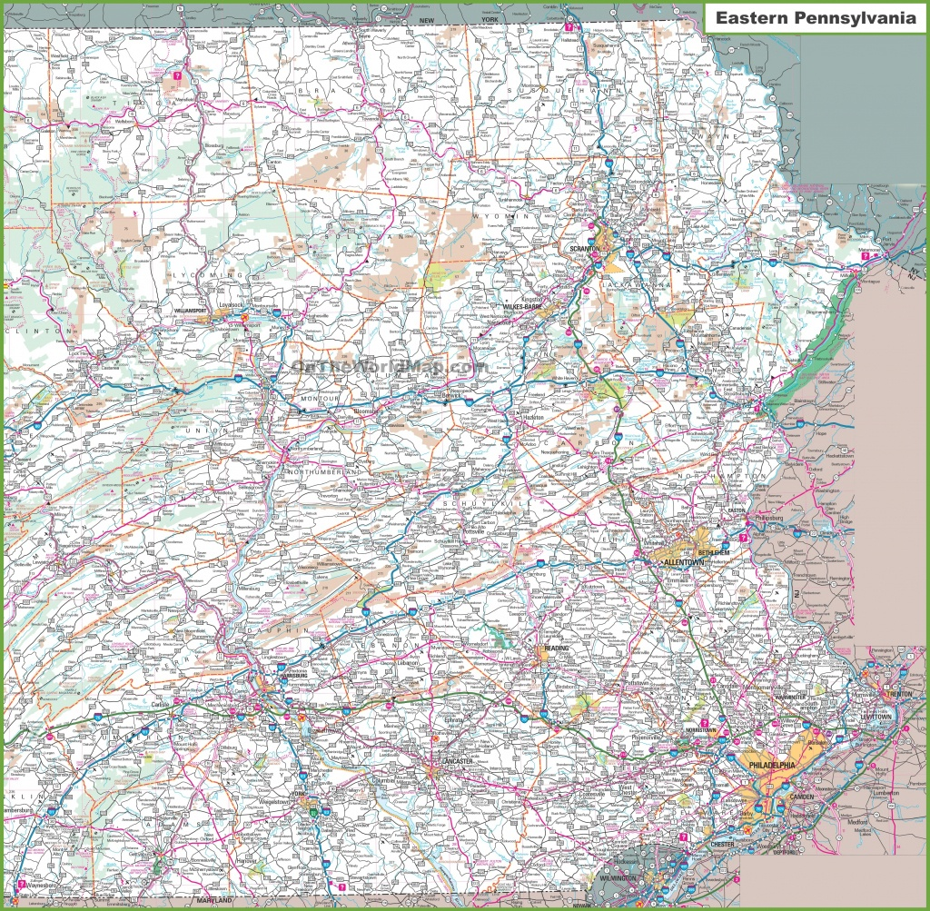 Map Of Eastern Pennsylvania - Printable Road Map Of Pennsylvania