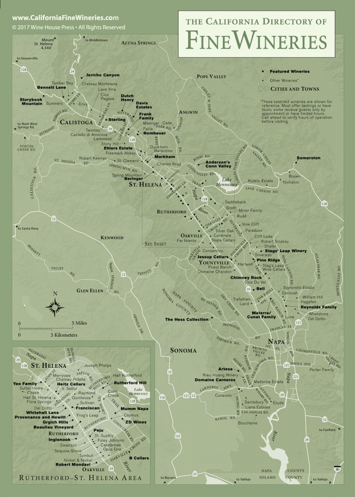 Map Of Fine Wineries In Napa Valley California - California Wine Country Map Napa