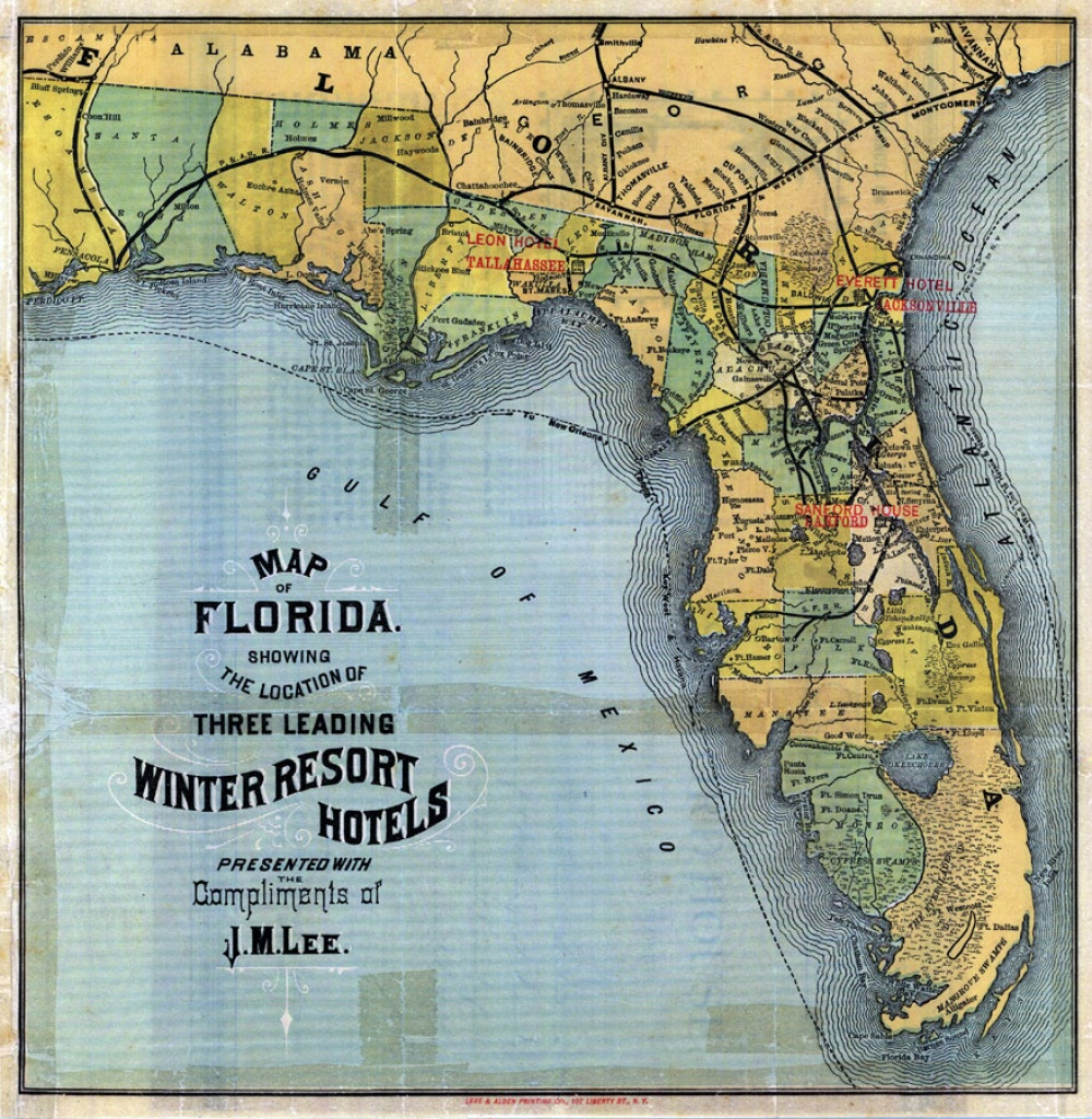 Map Of Florida: 3 Leading Winter Resort Hotels, 1885 - Florida Resorts Map