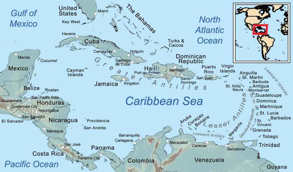 Map Of Florida And Caribbean Islands | Florida Map 2018 - Map Of Florida And Caribbean