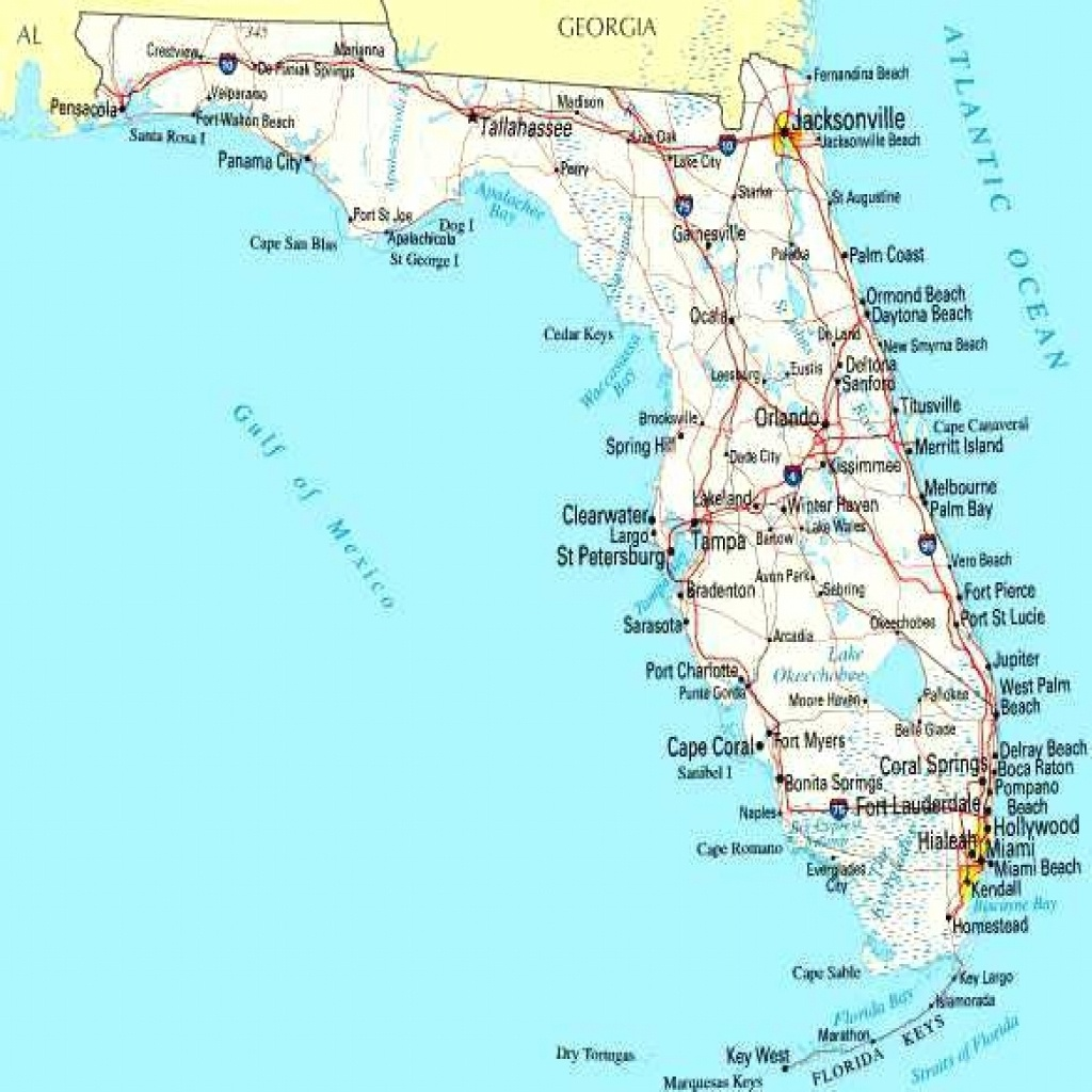 Map Of Florida Cities On Road West Coast Blank Gulf Coastline - Lgq - Map Of Florida Gulf Coast