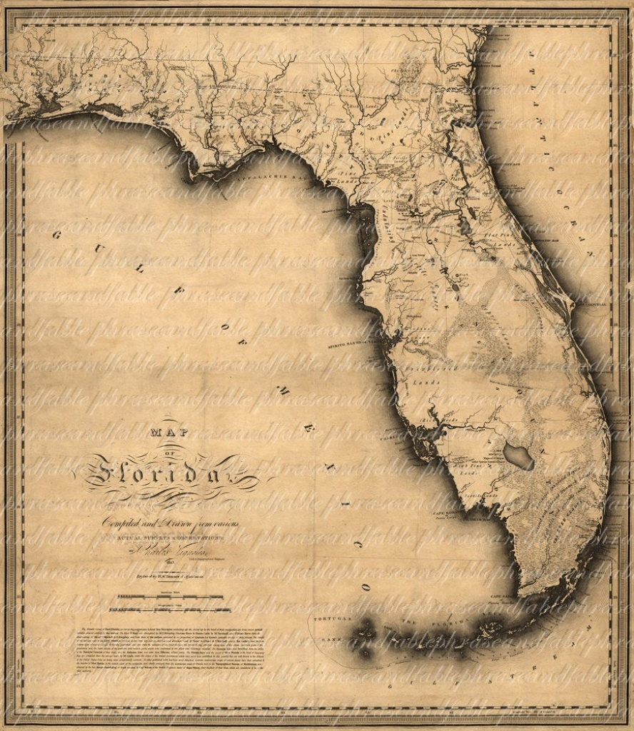 Map Of Florida From The 1800S 139 Ancient New World | Etsy - Florida Old Map