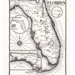 Map Of Florida In Black And White Hand Drawn Map From The | Etsy   Florida Map Black And White