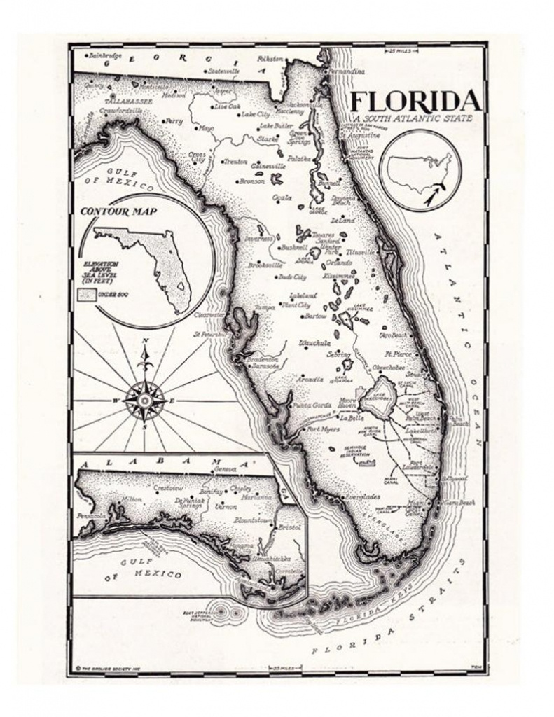 Map Of Florida In Black And White Hand Drawn Map From The | Etsy - Florida Map Black And White
