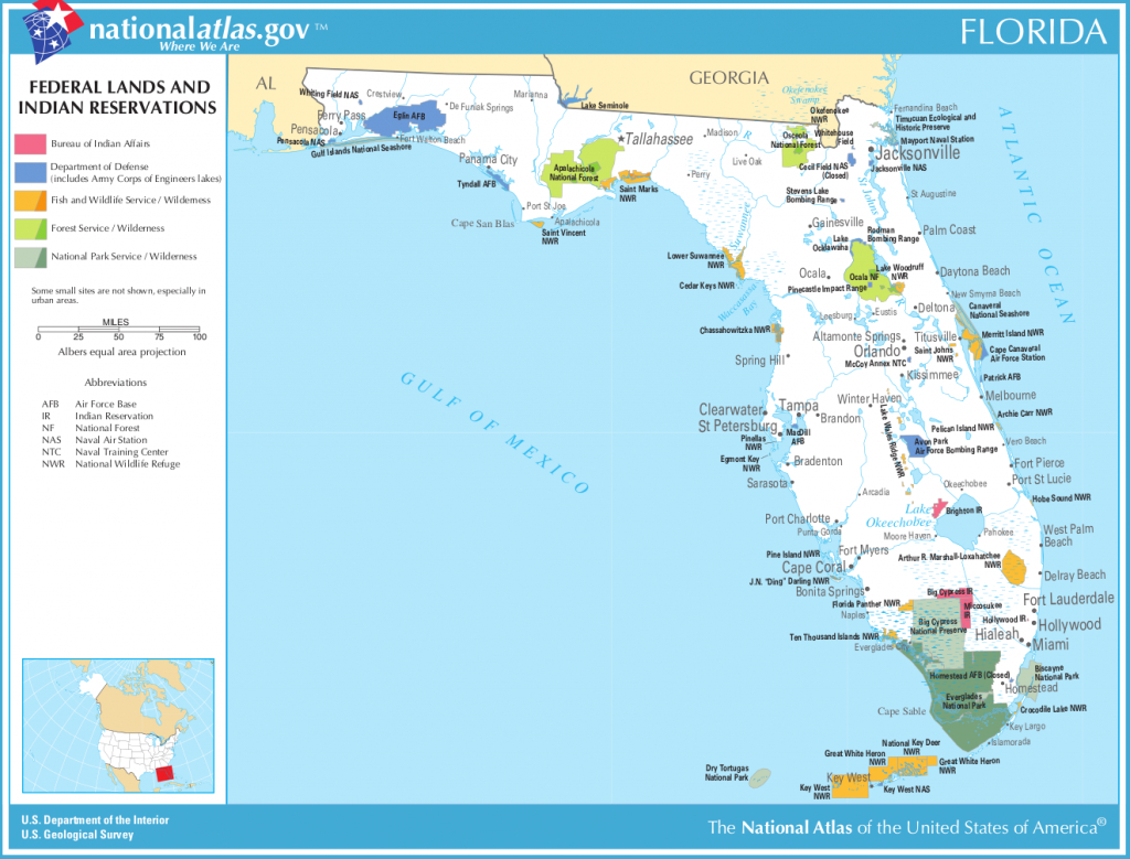 Map Of Florida (Map Federal Lands And Indian Reservations - Land O Lakes Florida Map