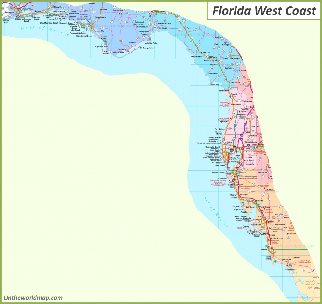 Map Of Florida West Coast - Florida Coast Map
