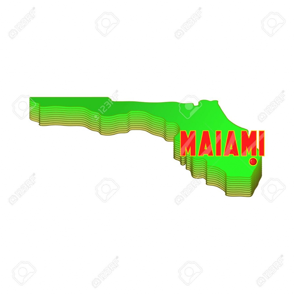 Map Of Florida With Miami Icon In Cartoon Style Isolated On White.. - Florida Cartoon Map