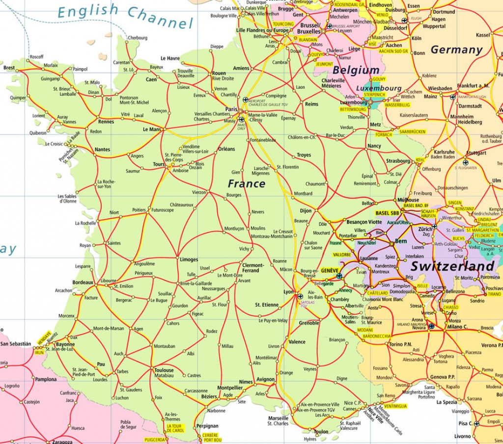 Map Of France And Switzerland - Recana Masana - Printable Road Map Of France