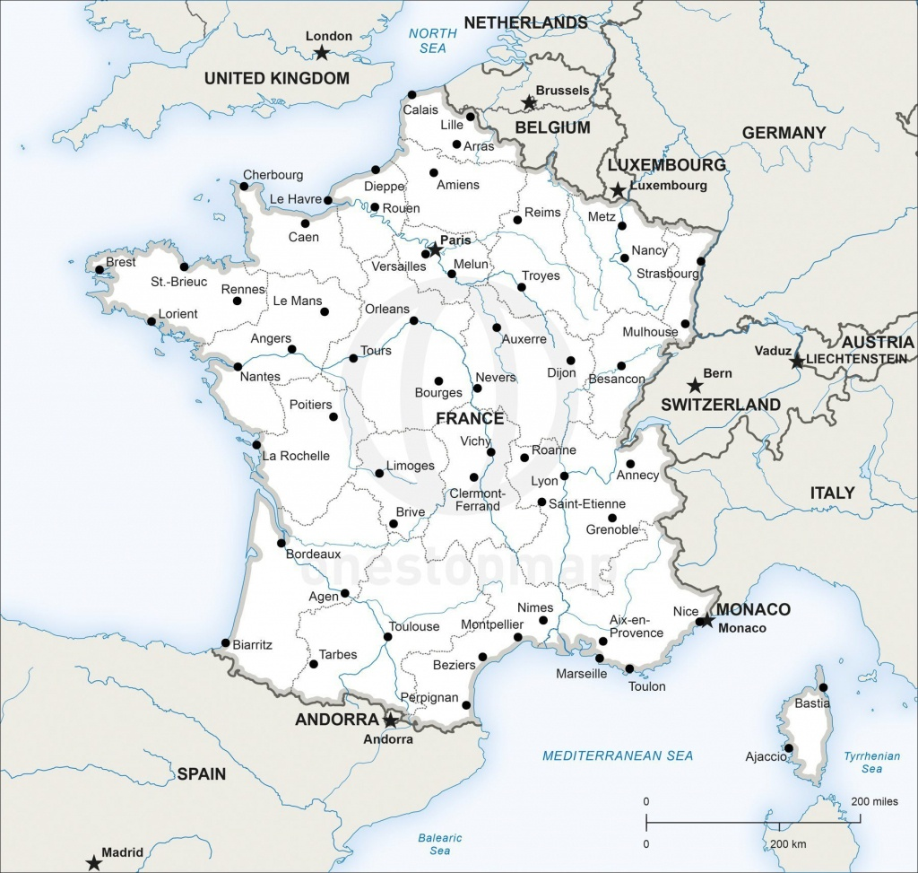 Map Of France Printable And Travel Information | Download Free Map - Printable Map Of France With Cities